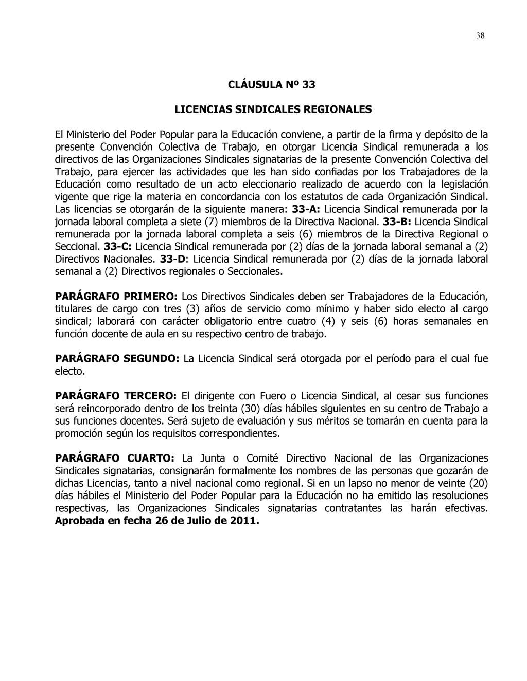 38 CLÁUSULA Nº 33 LICENCIAS SINDICALES REGIONAL...