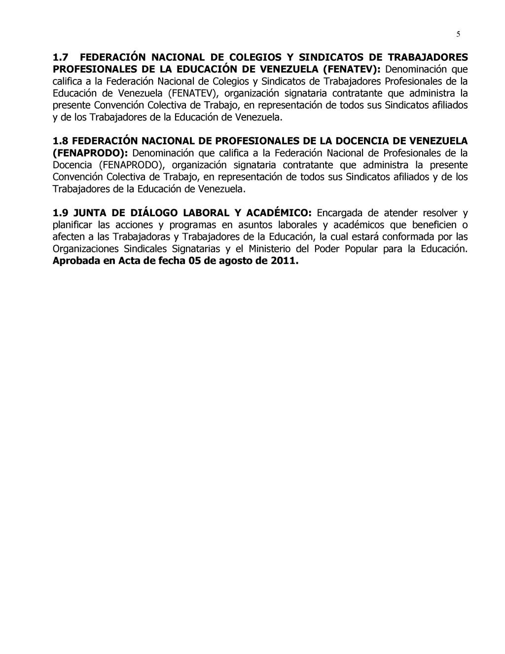 5 1.7 FEDERACIÓN NACIONAL DE COLEGIOS Y SINDICA...