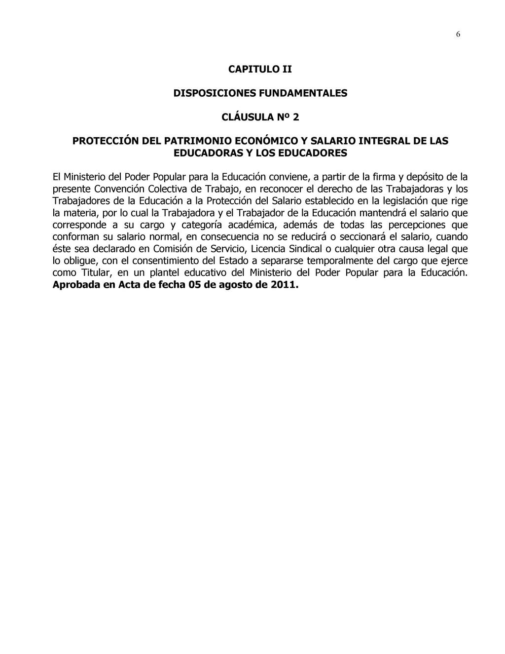 6 CAPITULO II DISPOSICIONES FUNDAMENTALES CLÁUS...