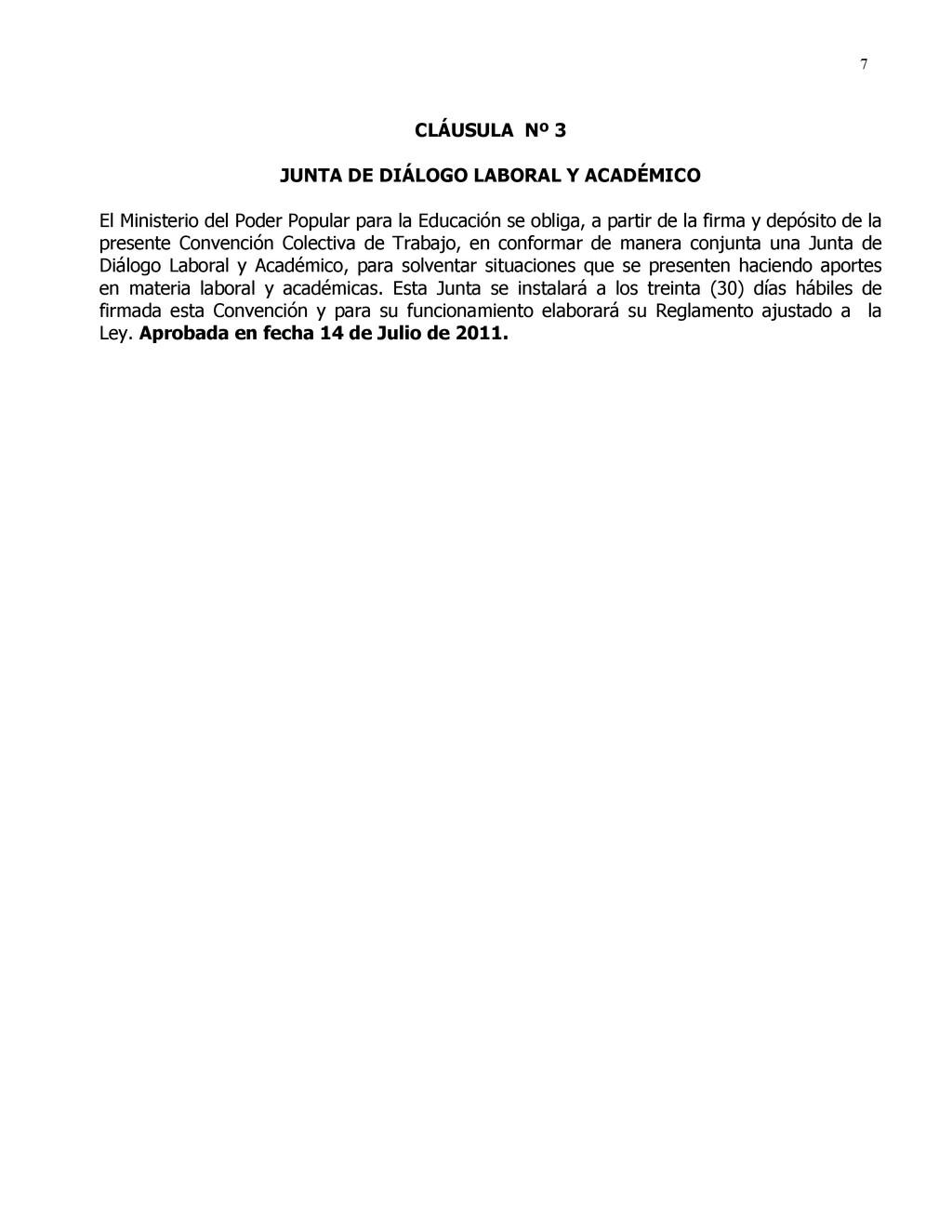 7 CLÁUSULA Nº 3 JUNTA DE DIÁLOGO LABORAL Y ACAD...