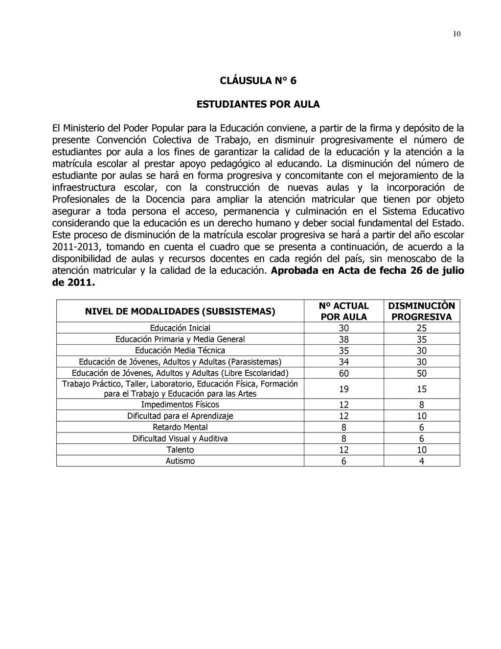 10 CLÁUSULA N° 6 ESTUDIANTES POR AULA El Minist...