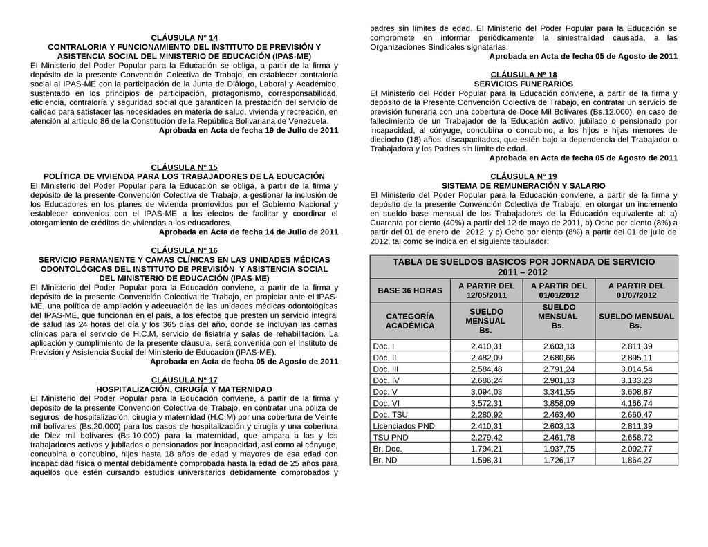 CLÁUSULA N° 14 CONTRALORIA Y FUNCIONAMIENTO DEL...