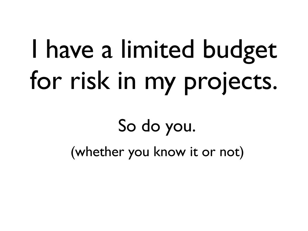 I have a limited budget for risk in my projects...