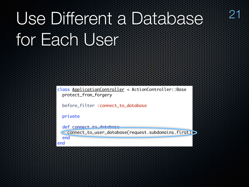 Use Different a Database for Each User 21 class...