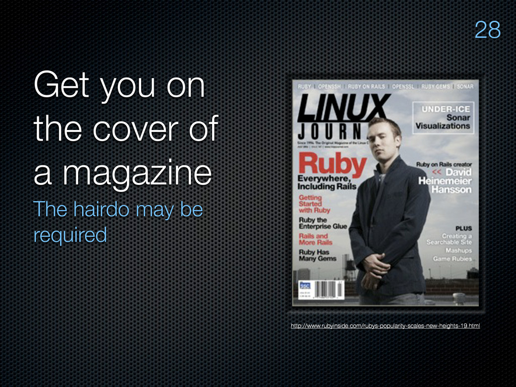 Get you on the cover of a magazine The hairdo m...