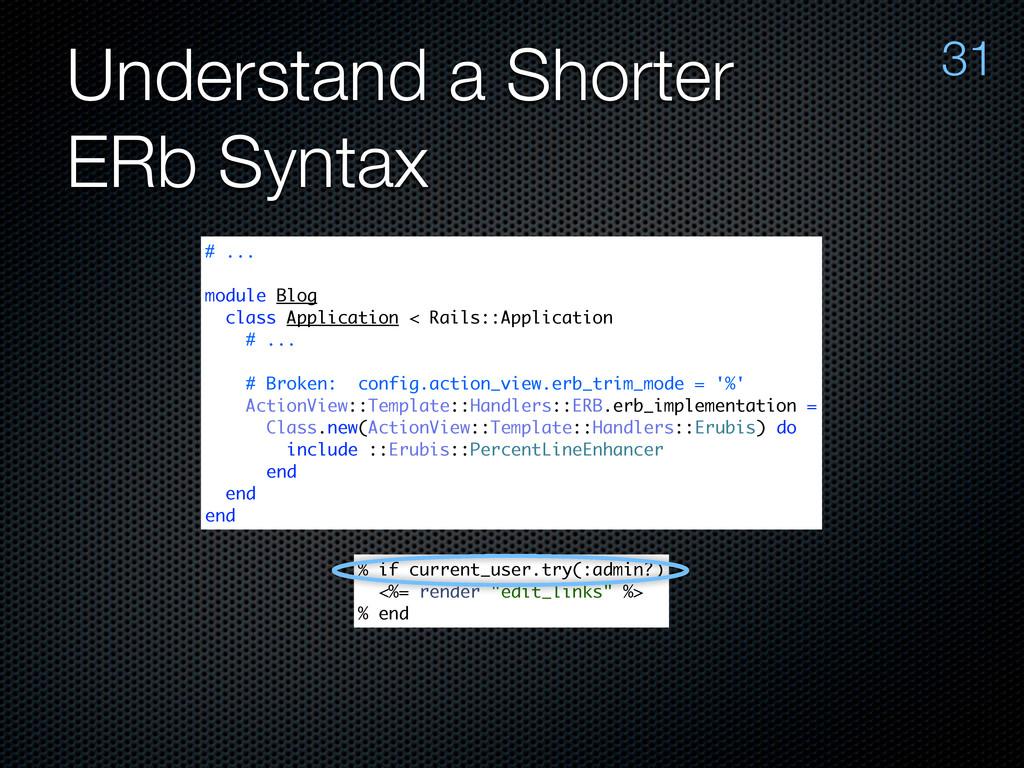 Understand a Shorter ERb Syntax 31 # ... module...