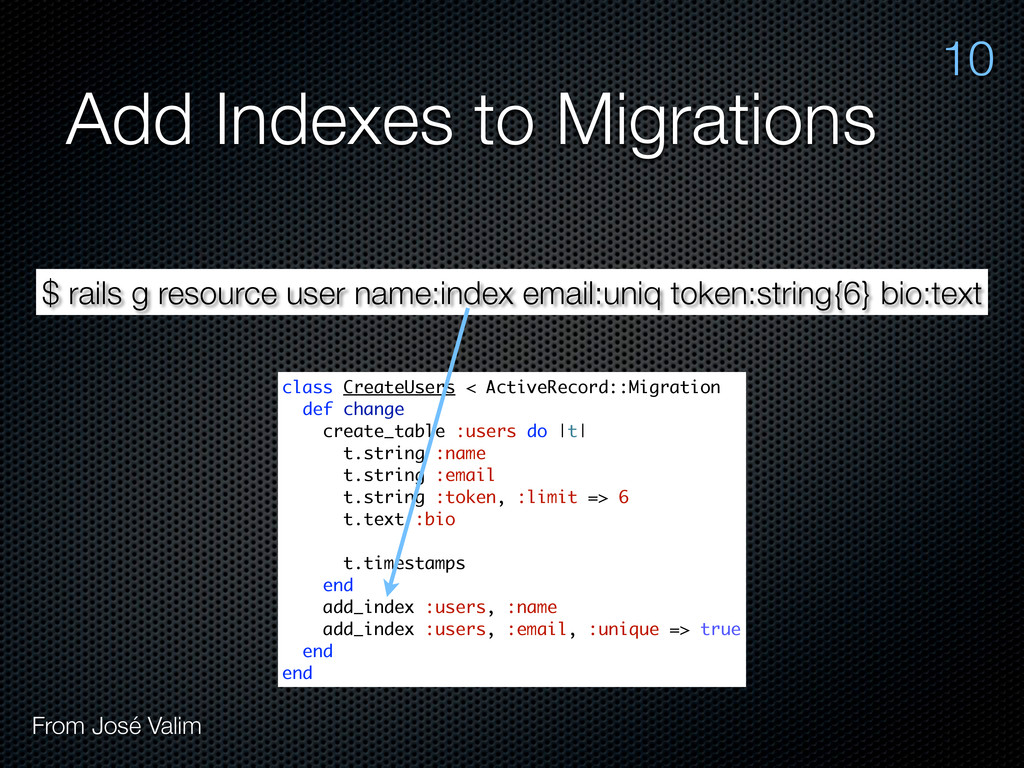 Add Indexes to Migrations $ rails g resource us...