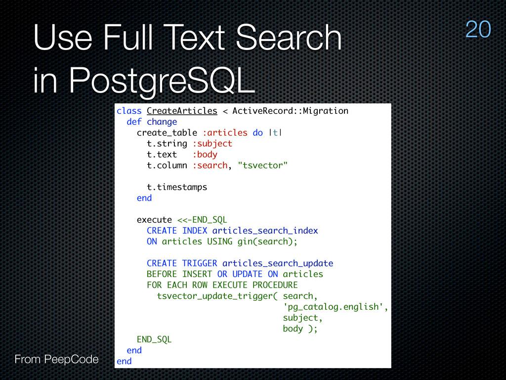 Use Full Text Search in PostgreSQL 20 class Cre...