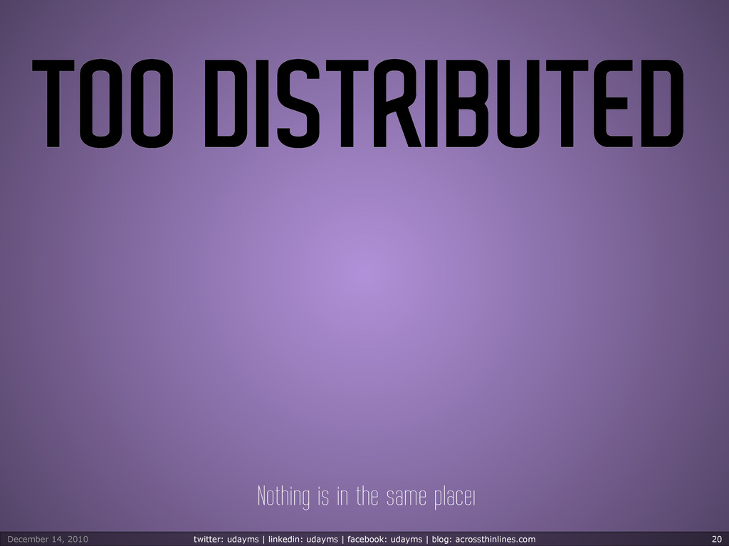 TOO DISTRIBUTED Nothing is in the same placeı D...