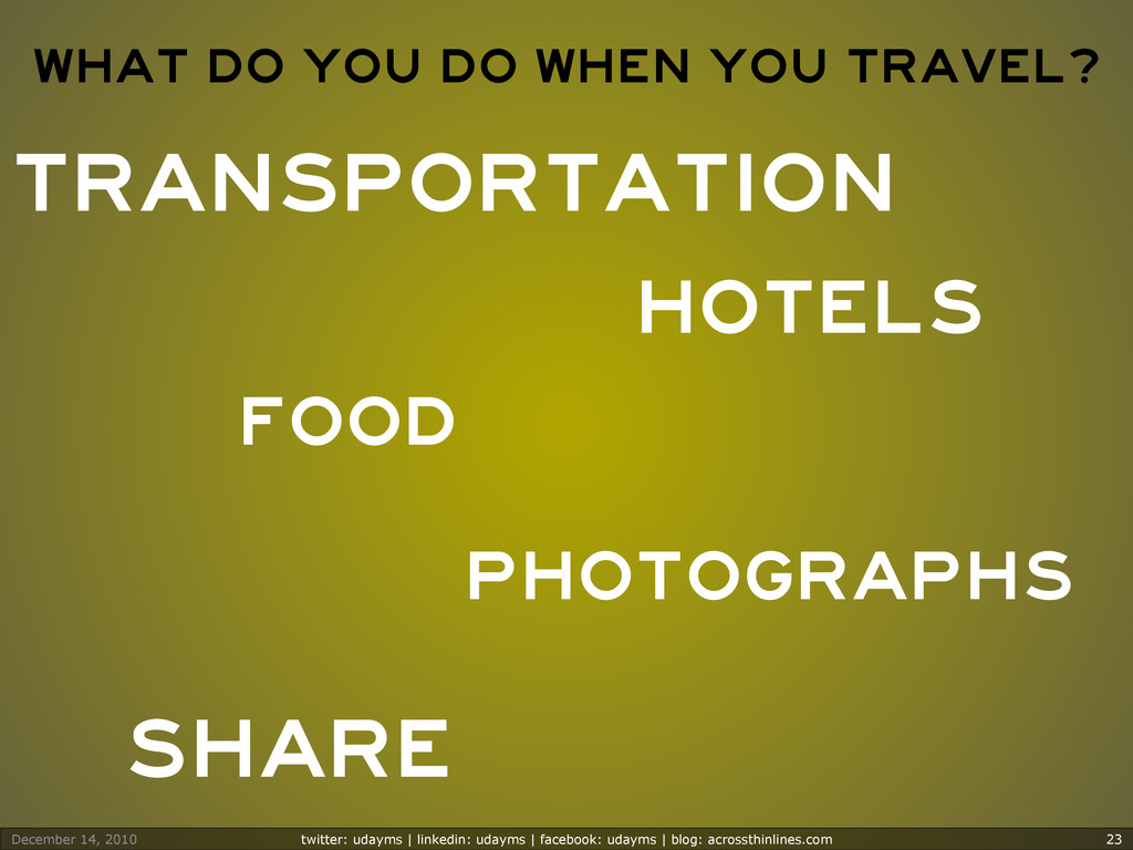 What do you do when you travel? Transportation ...