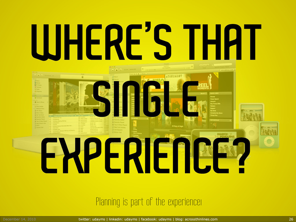 WHERE'S THAT SINGLE EXPERIENCE? Planning is par...