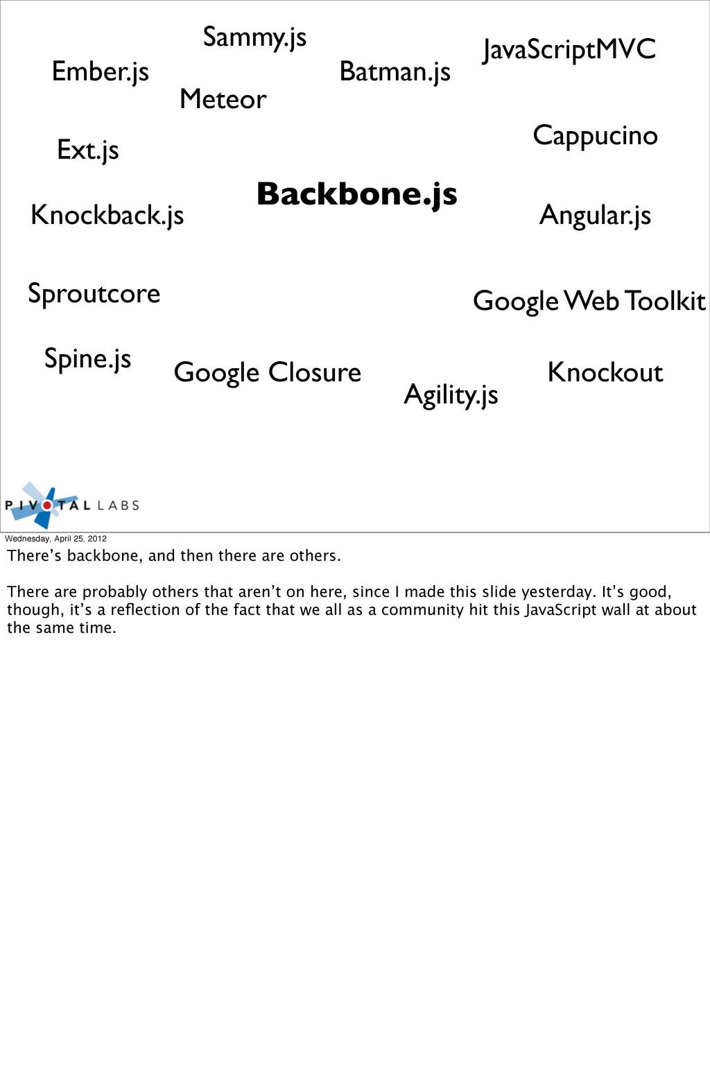 Backbone.js Cappucino Ext.js Angular.js Knockba...