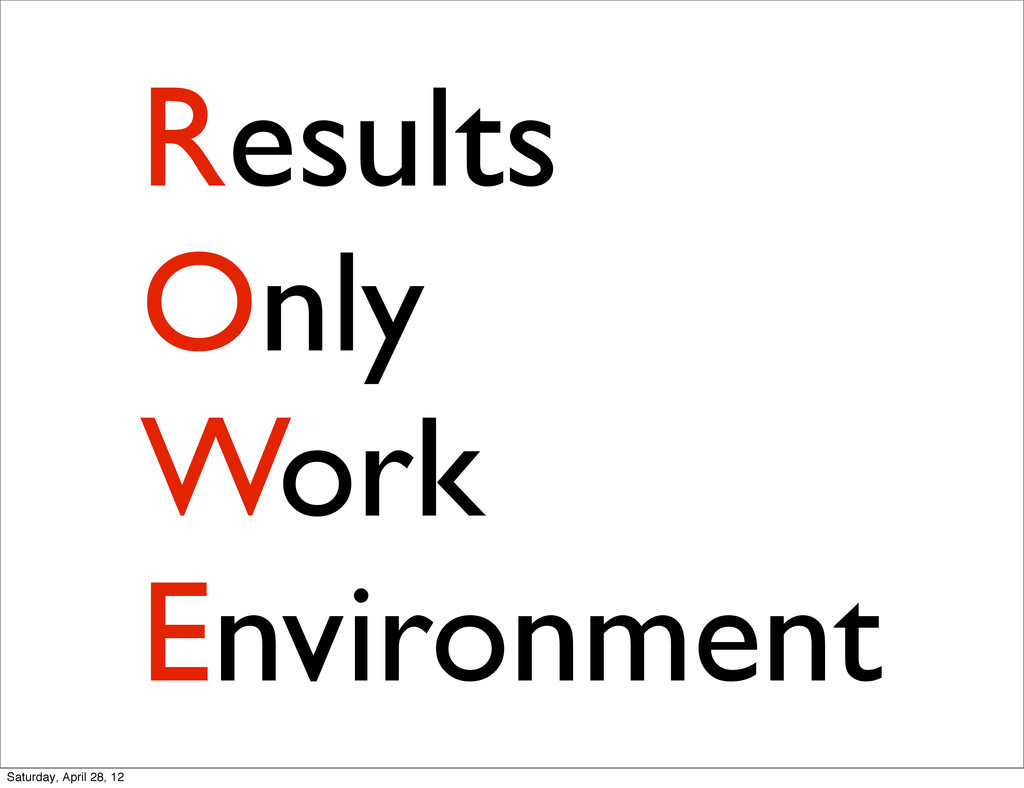 Results Only Work Environment Saturday, April 2...