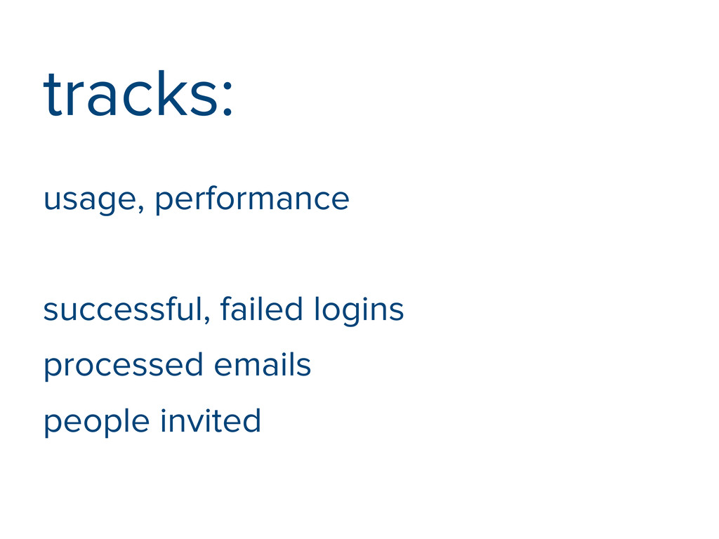 tracks: usage, performance successful, failed l...