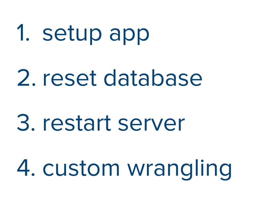 1. setup app 2. reset database 3. restart serve...