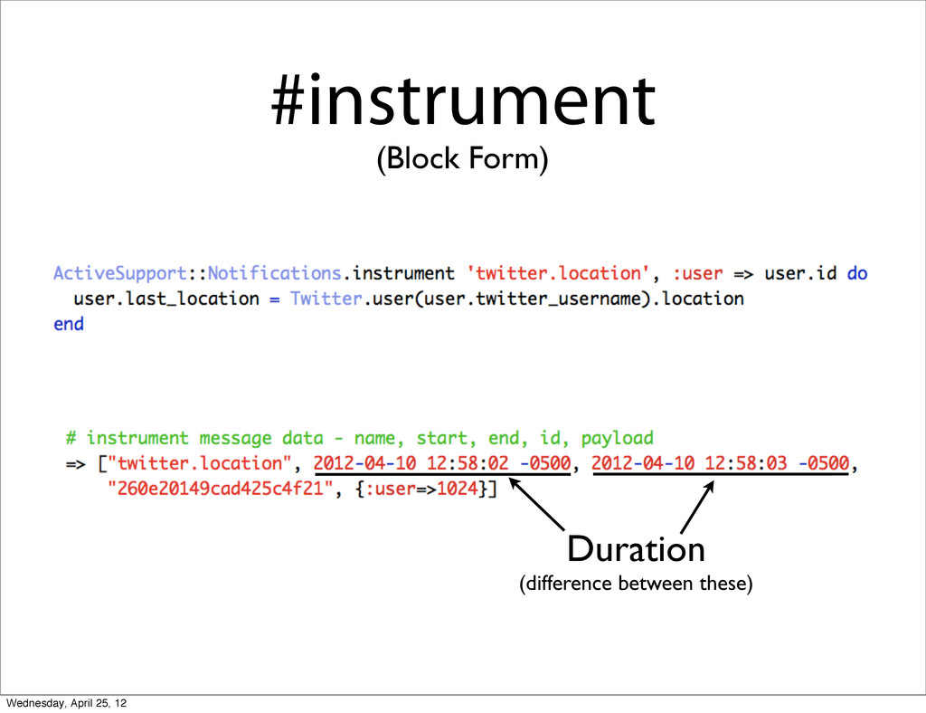#instrument (Block Form) Duration (difference b...