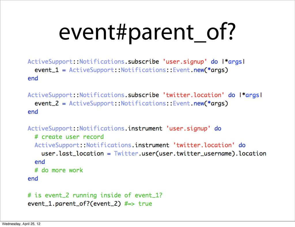 event#parent_of? Wednesday, April 25, 12
