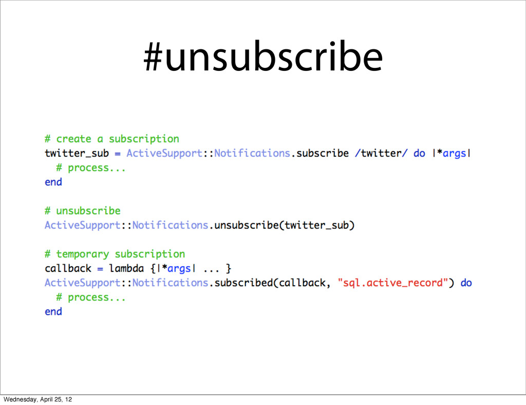 #unsubscribe Wednesday, April 25, 12