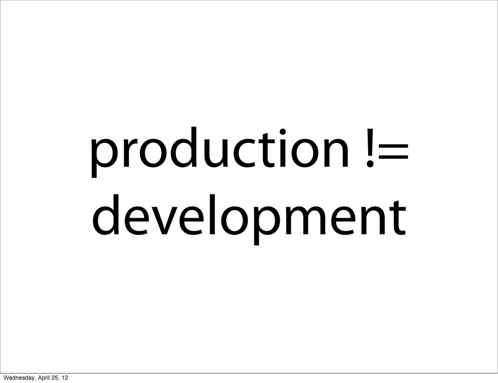 production != development Wednesday, April 25, ...