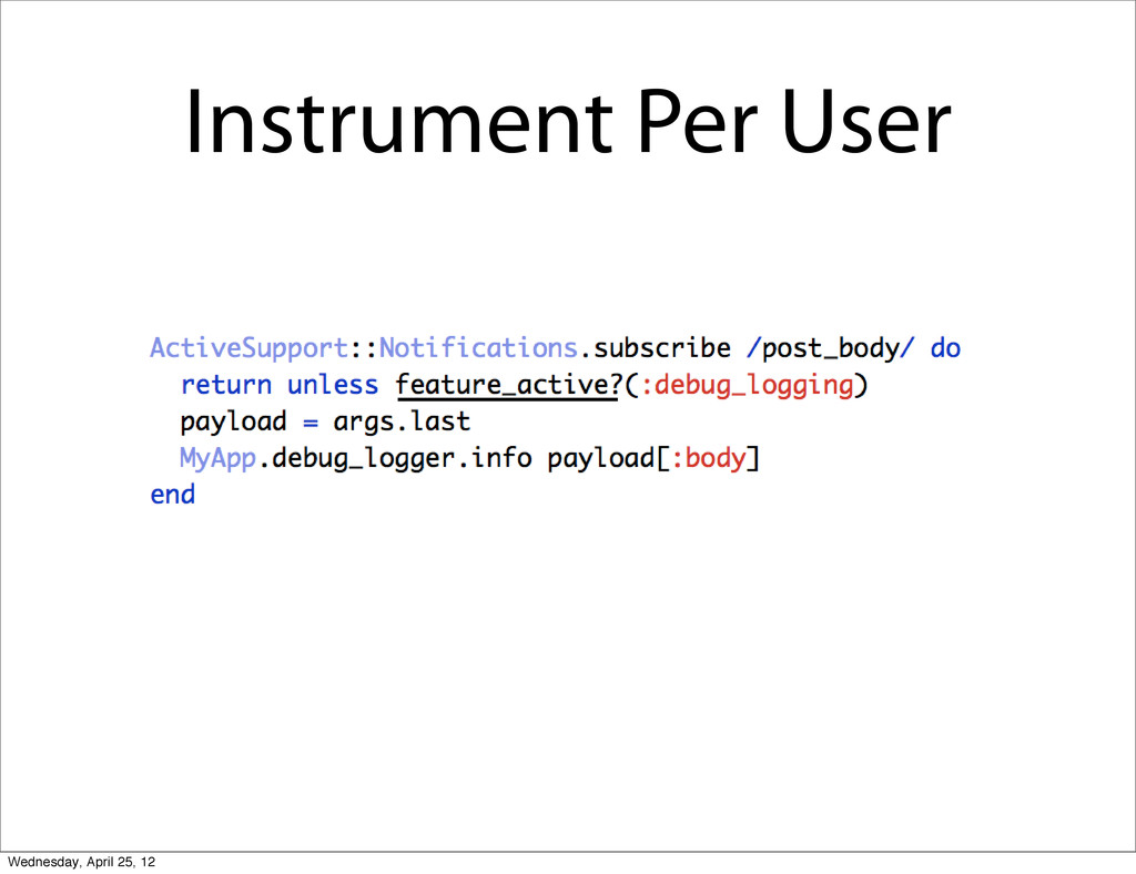 Instrument Per User Wednesday, April 25, 12