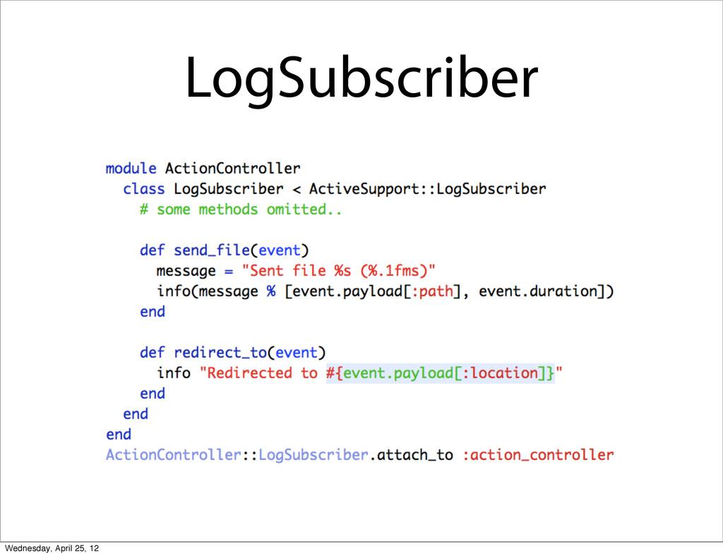 LogSubscriber Wednesday, April 25, 12