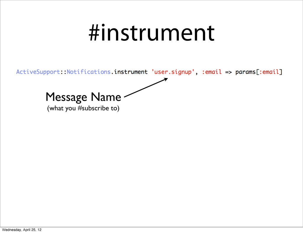 #instrument Message Name (what you #subscribe t...