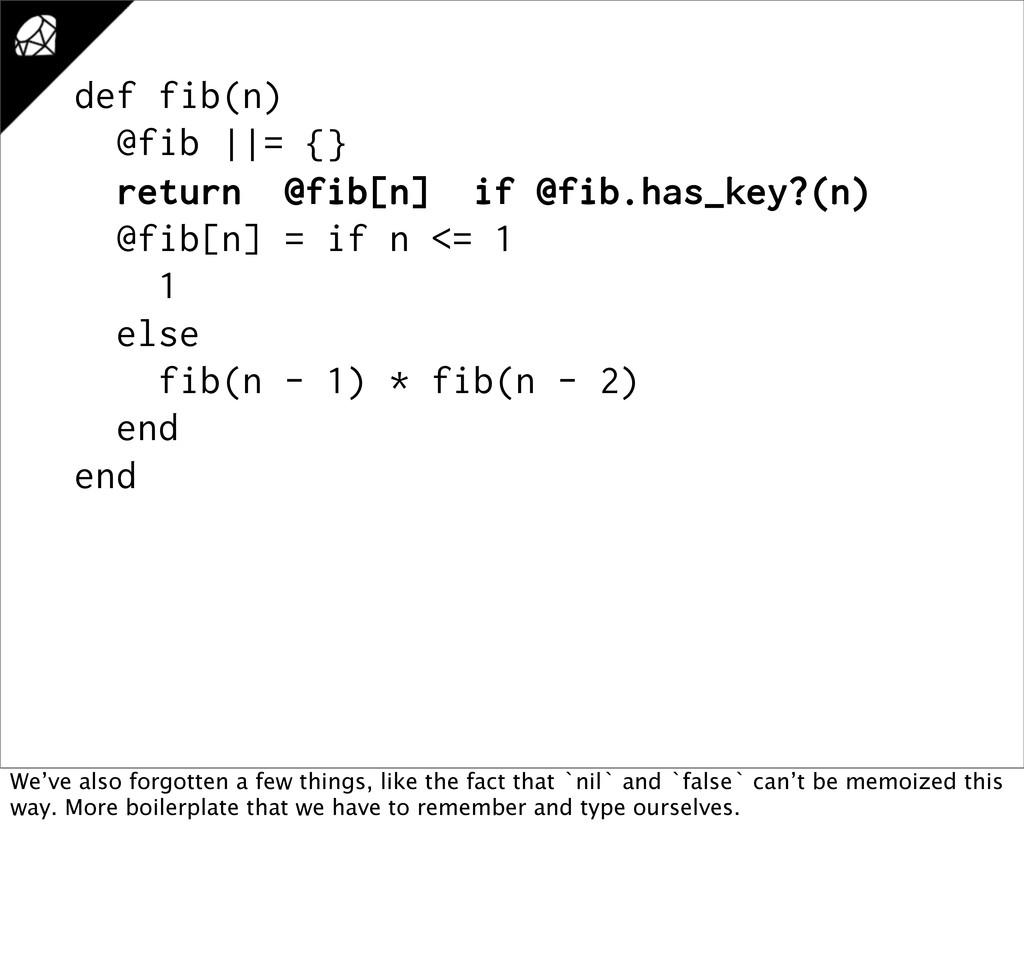 def fib(n) @fib ||= {} return @fib[n] if @fib.h...