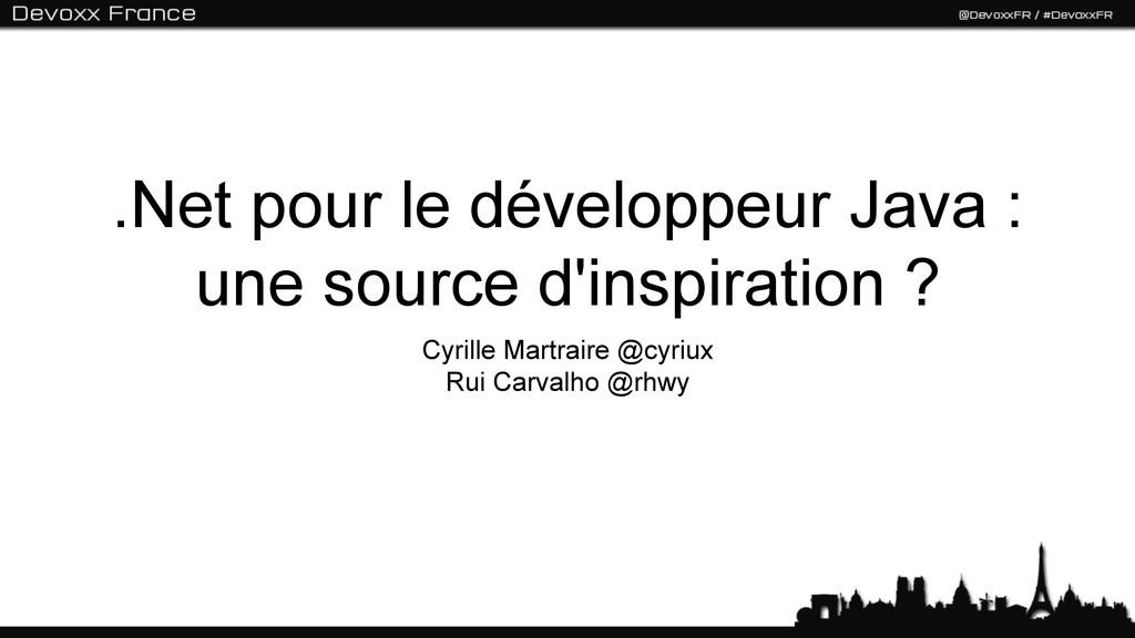 .Net pour le développeur Java : une source d'in...