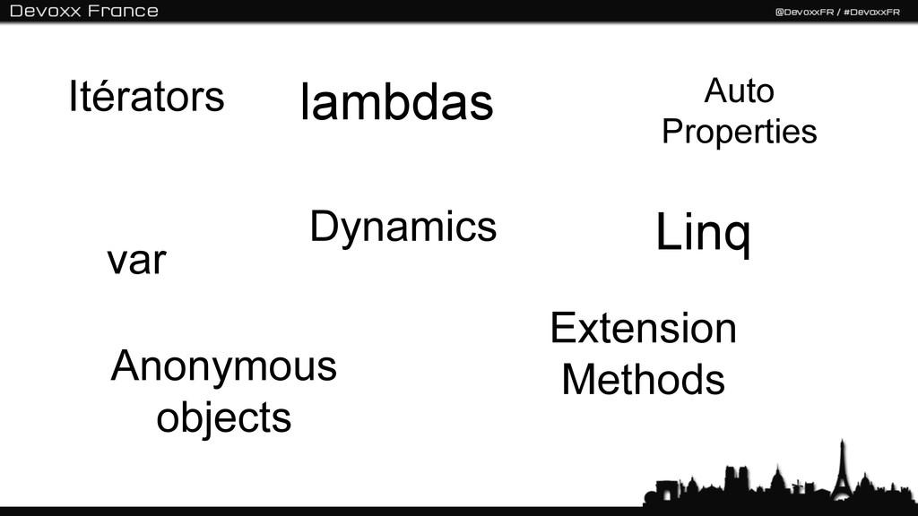 Itérators var Linq Extension Methods Anonymous ...