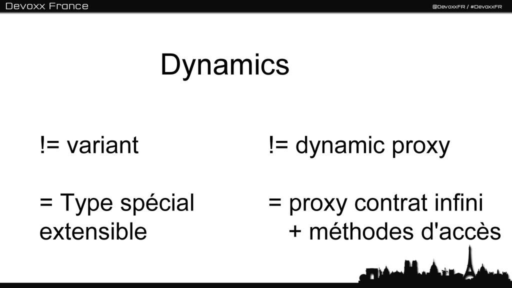 Dynamics != variant = Type spécial extensible !...