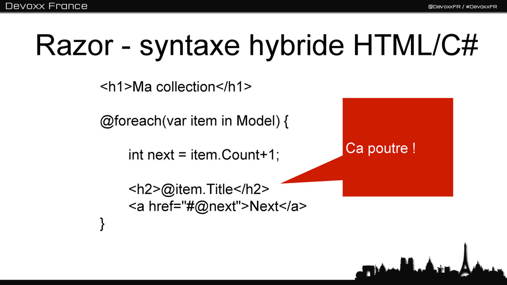 Razor - syntaxe hybride HTML/C# <h1>Ma collecti...