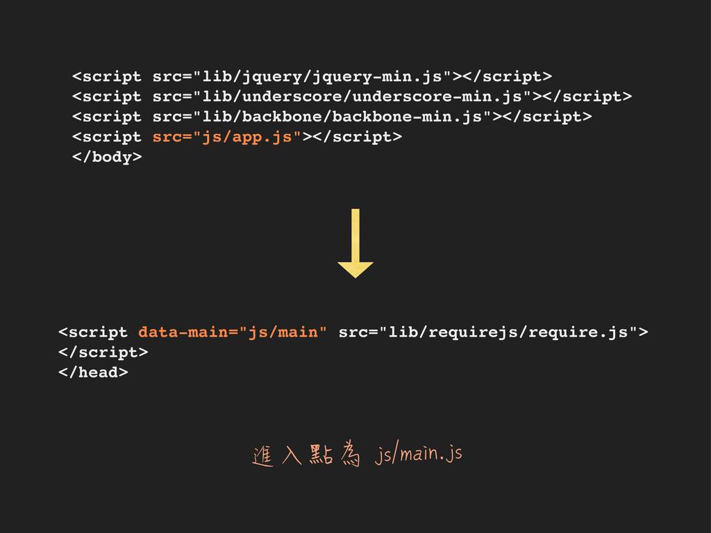 """進入點為 js/main.js <script src=""""lib/jquery/jquery-..."""