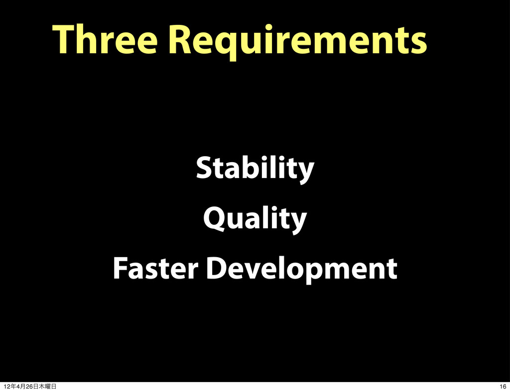 Three Requirements Stability Quality Faster Dev...