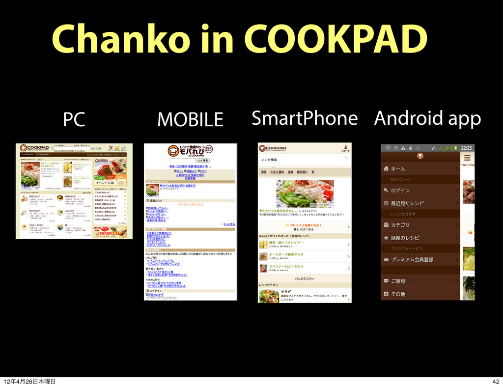 PC MOBILE SmartPhone Android app Chanko in COOK...