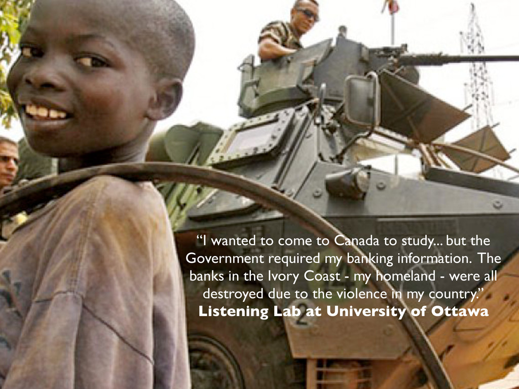 """I wanted to come to Canada to study... but the..."