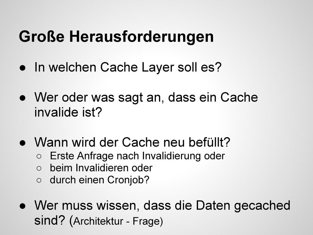 Große Herausforderungen ● In welchen Cache Laye...