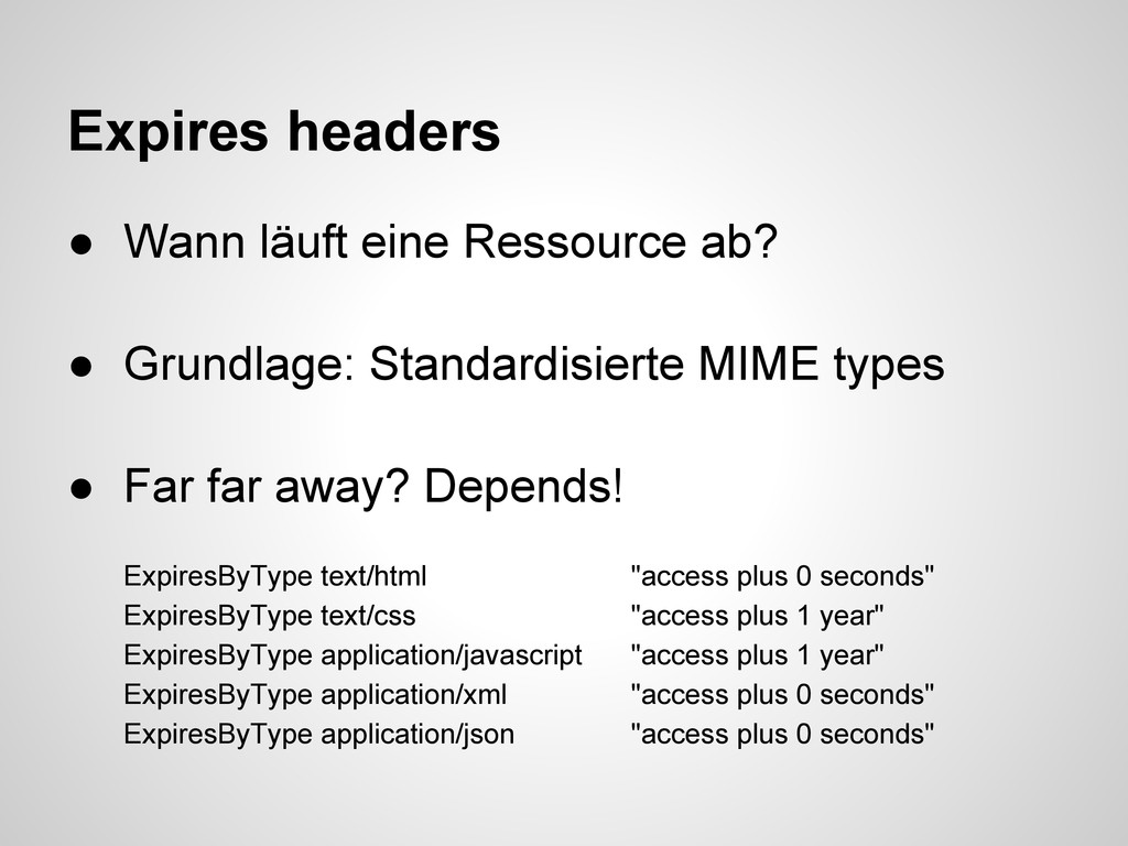 Expires headers ● Wann läuft eine Ressource ab?...