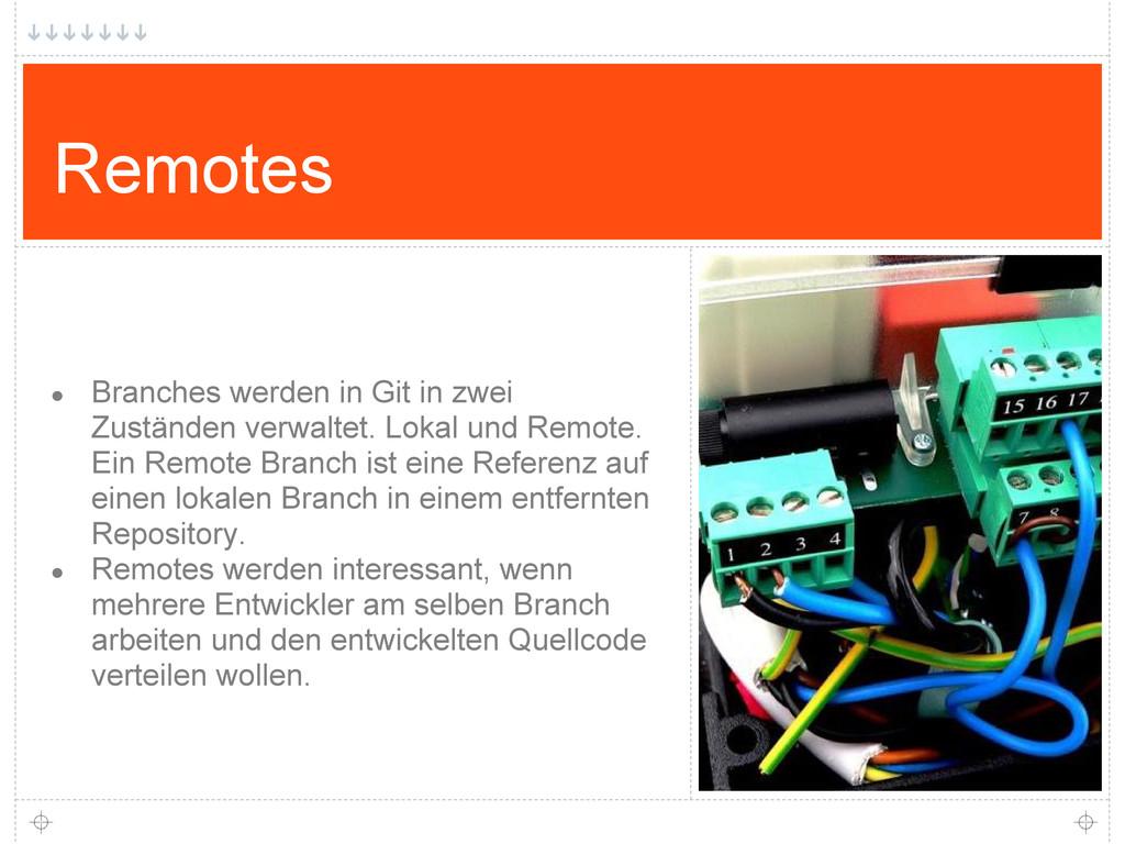 Remotes ● Branches werden in Git in zwei Zustän...