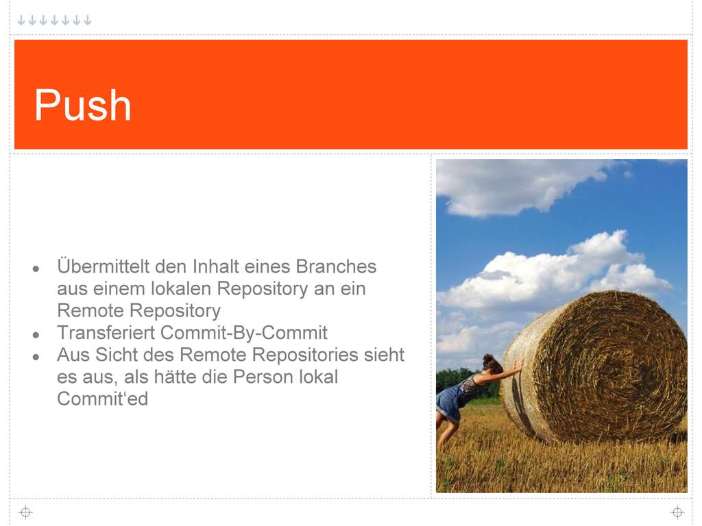 Push ● Übermittelt den Inhalt eines Branches au...