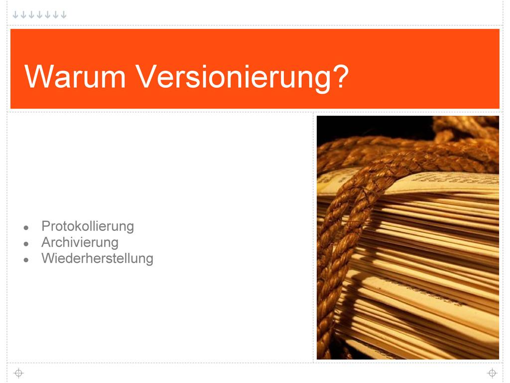 Warum Versionierung? ● Protokollierung ● Archiv...