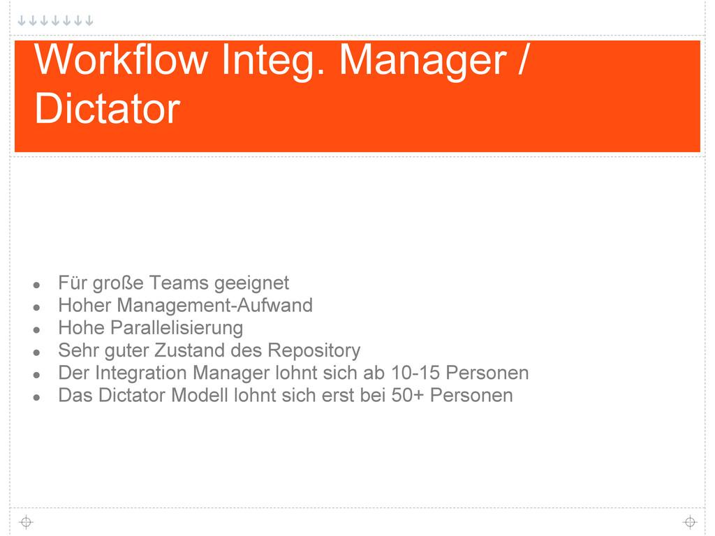 Workflow Integ. Manager / Dictator ● Für große ...