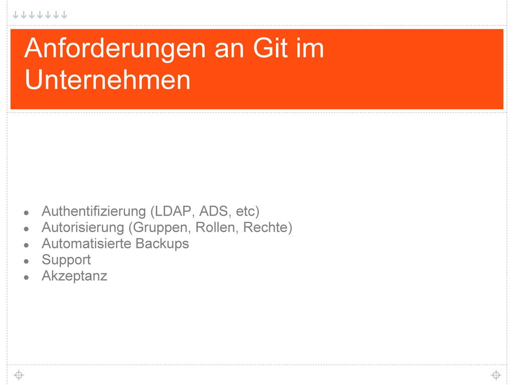 Anforderungen an Git im Unternehmen ● Authentif...