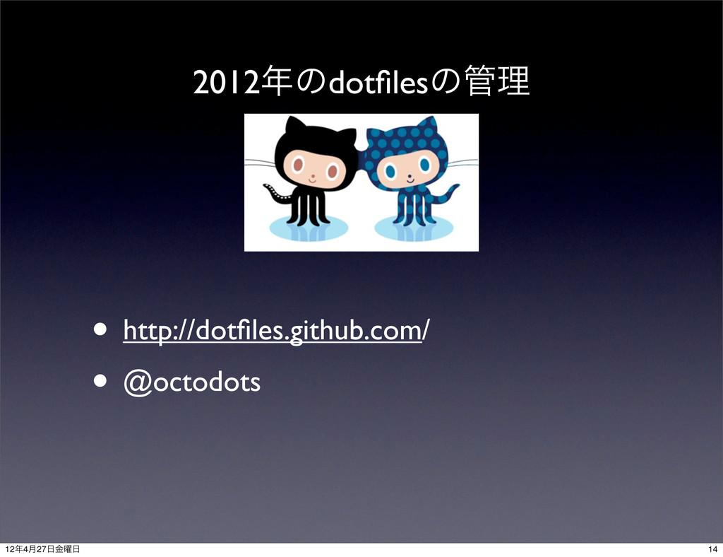 2012ͷdotfilesͷཧ • http://dotfiles.github.com/ •...