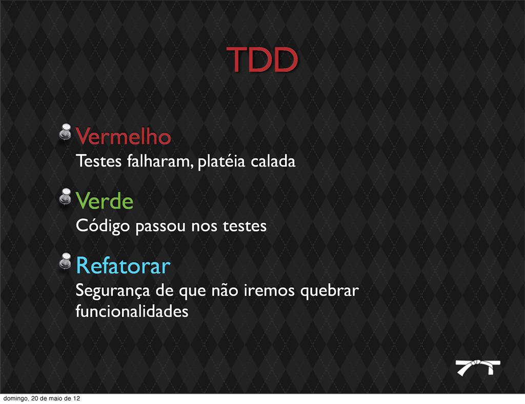 TDD Vermelho Testes falharam, platéia calada Ve...