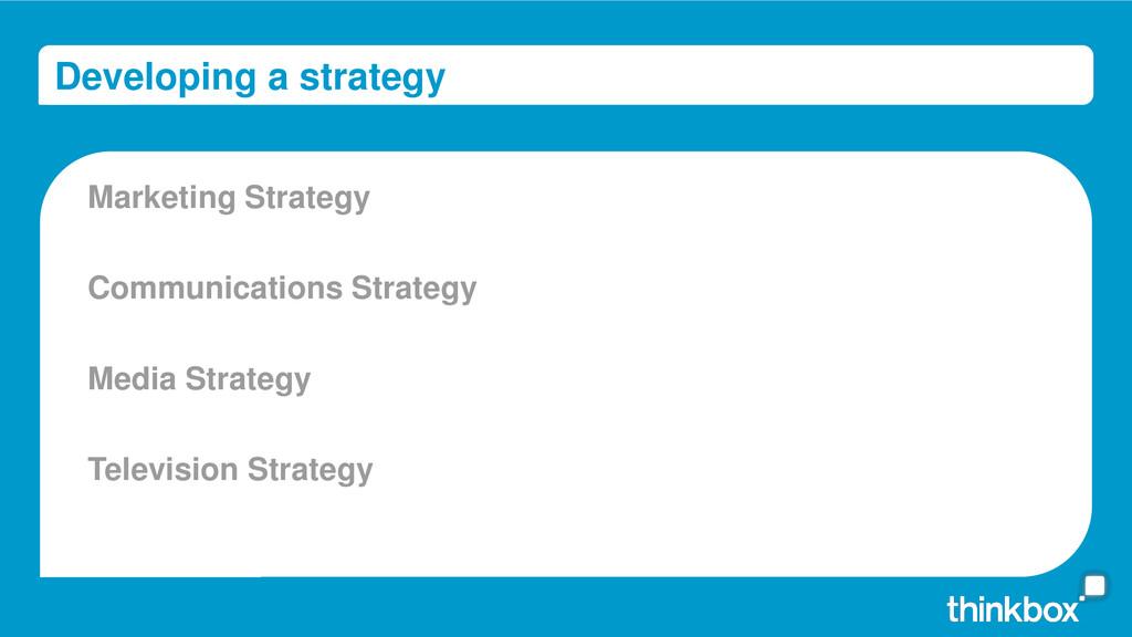 Developing a strategy Marketing Strategy Commun...