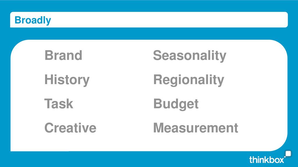 Broadly Brand Task History Creative Regionality...