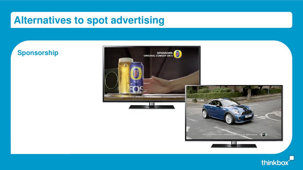 Alternatives to spot advertising Sponsorship