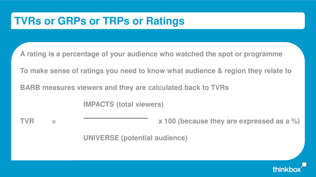 TVRs or GRPs or TRPs or Ratings A rating is a p...