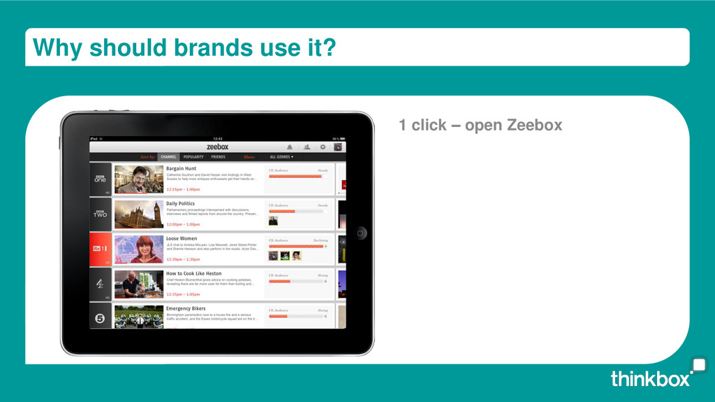 Why should brands use it? 1 click – open Zeebox