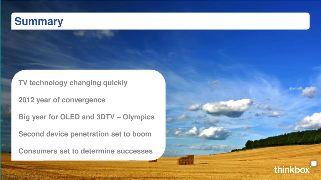 Summary TV technology changing quickly 2012 yea...